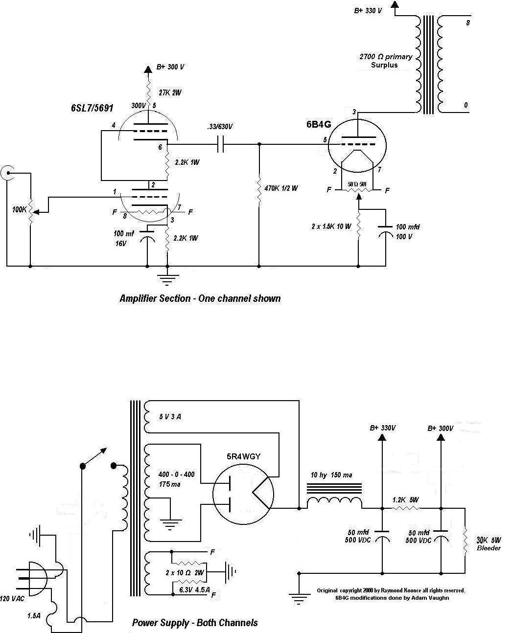 My Current Tube Amp Project Page Amplifier Schematic